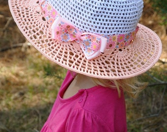 SALE Crochet summer hat Girls hats Brim Hat with ribbon Girls sun hat Classic hat Summer Fashion Kids Gift for Girls Kids Hats tea party