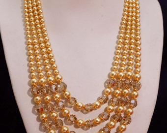 Dainty Delight Golden Swarovski Pearls and Crystals Handmade Four Layer Necklace