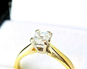 Asscher diamond engagement ring in 18 carat gold