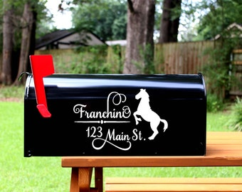 Mailbox Decal Set- Custom Vinyl Country Horse Cowboy Mail Box Address Numbers Cover - Includes (2) Two Decals Stickers Home Address