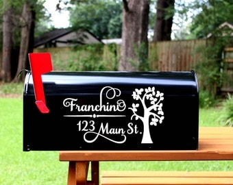 Mailbox Decal Set- Custom Vinyl Tree Planet Eco Friendly Mail Box Address Numbers Cover - Includes (2) Two Decals Stickers Home Address