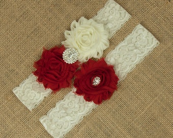 Bridal Garter Set, Ivory Lace Garter, Red Wedding Garter, Ivory Wedding Garter, Toss Garter, Red Keepsake Garter, Red Bridal Garter SCI1-R04