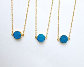 Blue Agate Druzy Necklace Gold Dipped