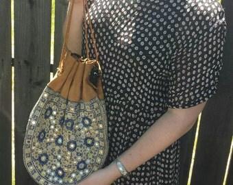 Leather Drawstring Bag~Boho Mirror Bag ~ Leather Hippie Bag ~ Bohemian Bag Hippie Purse ~70s Leather Bag ~Boho Bag Leather ~Gypsy Boho Bag