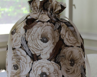 Large Knitting/Crochet Project Drawstring Bag - Flowers and Feathers