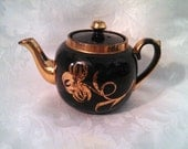 Antique Globe Teapot by Gibson and Sons, Tortoise Shell, Gold Trim, Small Teapot, 2 Cups, Circa 1910