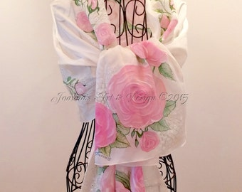 """Hand painted silk scarf - """"Constance roses """"-  roses silk scarf - flower scarves - wedding scarf - rose scarf"""