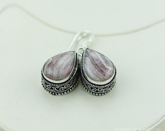 Rhodochrosite Vintage Filigree Setting 925 SOLID (Nickel Free) Sterling Silver Dangle Earrings e496