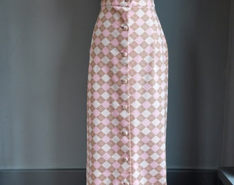 Jeurique  Fashions Pink and  Brown Skirt