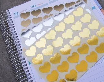 90 metallic heart stickers, silver gold geometric stickers, planner stickers, scrapbook sticker, love reminder checklist sticker