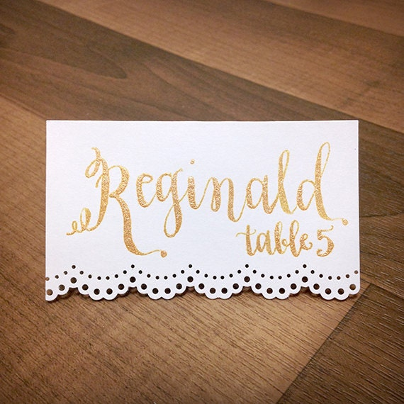 Custom Gold Calligraphy Lace Place Cards Wedding Name Card