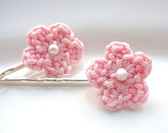 Pink Flower Hair Clip, Crochet Flower Hair Clip, Flower Hair Accessories, Crochet Flowers, Flower Hair Pin, Cute Hair Clips