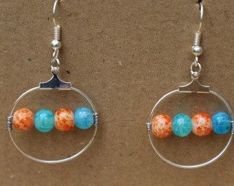 Orange and Aqua Glass Beaded Hoop Earrings