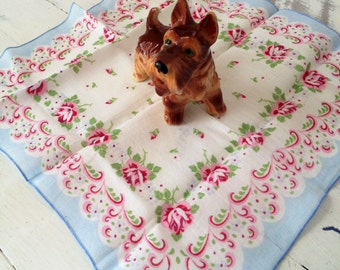 Vintage Handkerchief Vintage Hankie Flower Handkerchief Wildflower Hankie Blue Handkerchief Pink and Blue Handkerchief Vintage Handkerchief