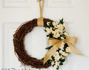 Cream Rose Wreath | Front Door Wreath | Year Round Wreath | Farmhouse Wreath | Miniature Rose Wreath | Housewarming Gift