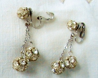Vintage Rhinestone Earrings Rhinestone Earrings Vintage 1960s