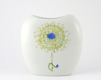 Porcelain Vase For Garden Flowers, little Bunch of Flowers. Green and Blue Imagery