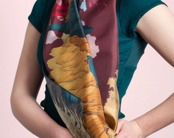 Silk's scarf, with spectacular landscape of Volcanoes and Smokes, Hand-drawn, burgundy sky