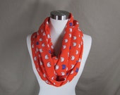 Infinity Scarf in Orange Cat Print Handmade Lightweight Scarf Spring Scarf Summer Scarves