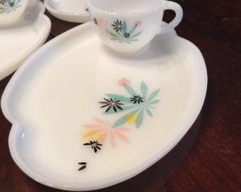 Atomic Flower Milk Glass Patio/Snack Set Federal Glass Company