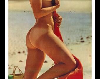 "Mature Playboy July 1970 : Playmate Centerfold Carol Willis 3 Page Spread Photo Wall Art Decor 11"" x 23"""