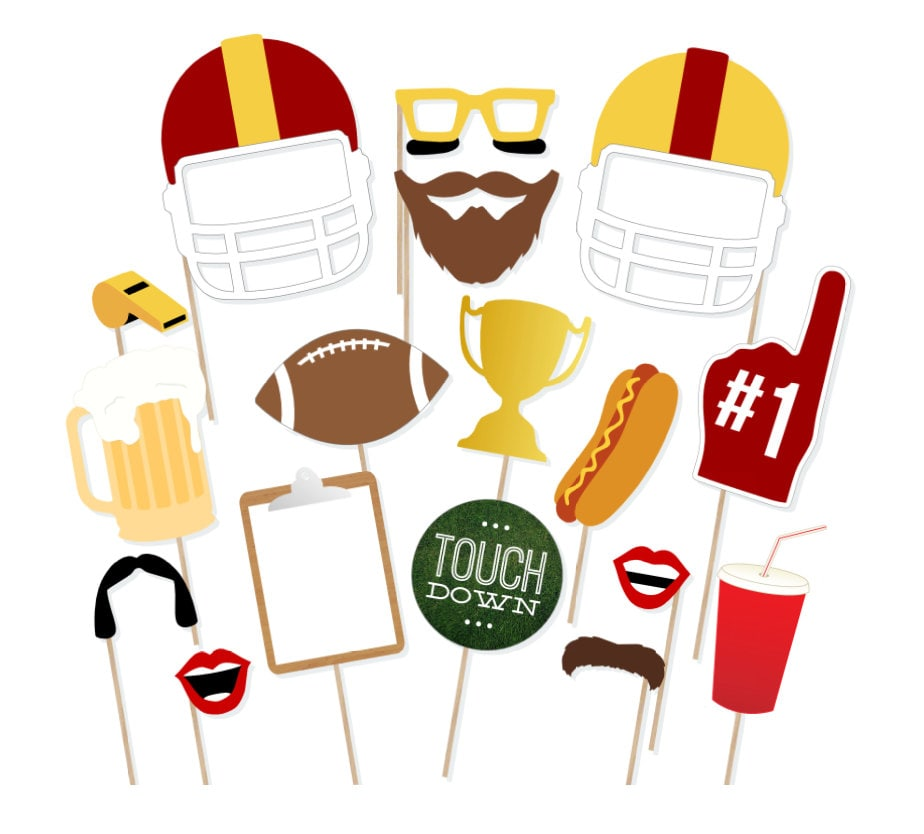 Printable Football Photo Booth Props Instant Download