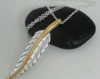 Silver jewelry / Silver .925  two tone leaf necklace necklace / Gift