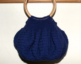 Handmade Crochet Bubble Purse - Blue Handbag