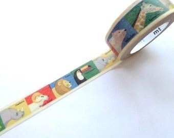 Animal Washi Tape, Kids Gift Wrapping, Japanese Stationery, Educational gift, Stationery tape, Baby shower, Invitation tape, Kawaii gift