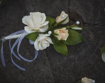 Wedding Buttonhole - Bridal Corsage - Cold Porcelain Flower - Handmade Buttonhole - Rose Buttonhole - Wedding Flower Buttonhole Fiance