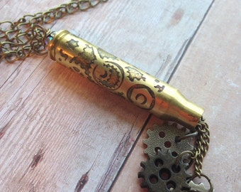 Steampunk Necklace with Etched Gears on a 223 Bullet Casing, Bullet jewelry, Upcycled bullets, Womens jewelry, Unique jewelry