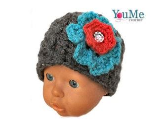 Flower hat grey for girl