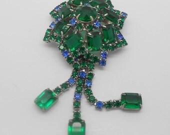 Vintage silver tone and green rhinestone flower dangle brooch- open back rhinestones