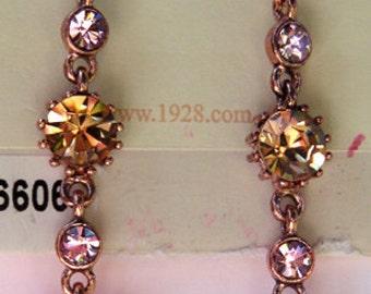 """1928 Jewelry """"Plum Rose"""" Crystal Linear Earrings"""