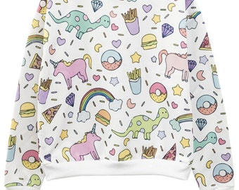 UNICORN SWEATER jumper top t shirt womens ladies girls top tumblr hipster grunge retro vtg indie boho swag goth full print rainbow burger