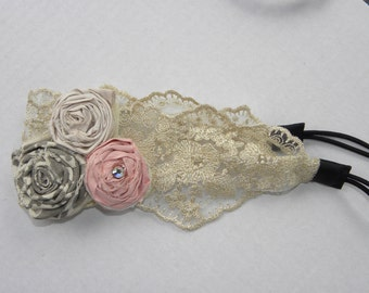 Pink, Grey, and White Flower Lace Headband