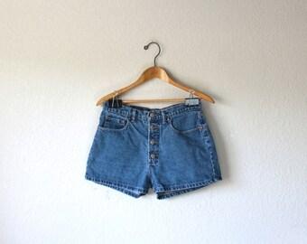 90s ELLEMENNO Four Button Fly Denim Jean Shorts, Size S