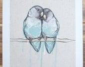 lovebirds illustration print