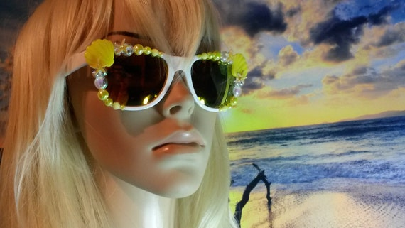I'm Really A MERMAID Sunglasses Sunnies Sun Glasses Wayfarers Aviators Im Ariel Beach Sea Ocean Nautical Pinup The Little Yellow Orange A006