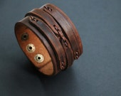 Men's Cuff Leather Bracelet Brown Men Leather Bracelet For Men Brown wrist cuff leather wristband Mens braid Bracelet