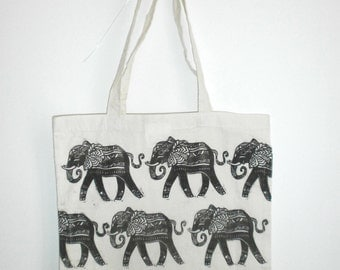 Shopper Bag Linocut Linocut Efephants Elephants