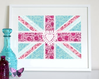 Union Jack floral patchwork flag (aqua), UK flag print, British flag print, English flag, English flag poster, British flag poster