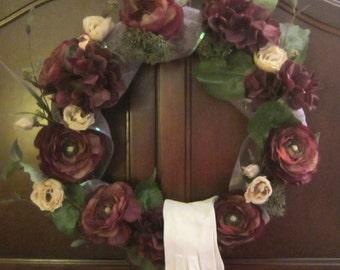 Romantic Memories Nostalgia Vintage Wreath Burgundy Cream Flowers Lilac Sheer Ribbon Gloves Handmade One-Of-A-Kind