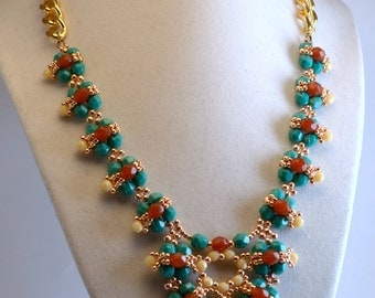 Turquoise and Carnelian Statement Necklace