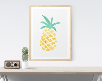 Pineapple Print in Mint and Yellow Wall Art Print Art Poster Wall Decor Watercolor Print