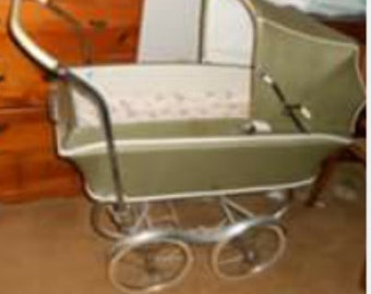 Antique Vintage Green REX Stroll-O-Chair Baby Carriage Stroller Buggy
