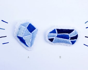 Embroidered Blue Gem Brooches