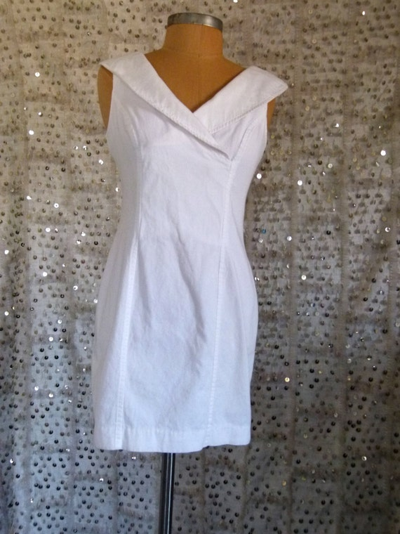 15% OFF 90s Sweetheart Sailor Dress With Open Back; Nautical Dress; Preppy Dress; All That Jazz; White Dress; Little White Dress