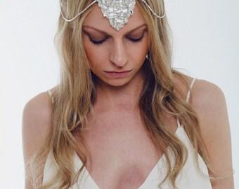 Bridal Headpiece, Art Deco, Great Gatsby, Rhinestone, Pearl, Silver Plated.