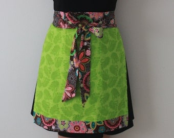 Half Apron, Lime Green Paisley, Floral, Perfect Gift, Cooking